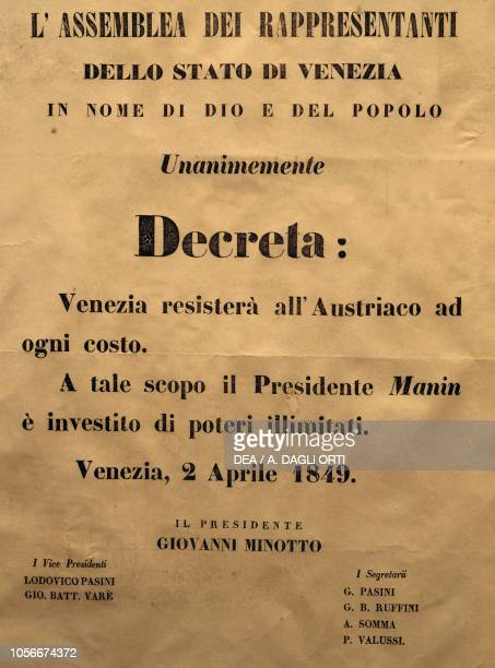 Decree of the State of Venice to continue the struggle against Austria assignment of unlimited powers to Daniele Manin April 2 Italy 19th century