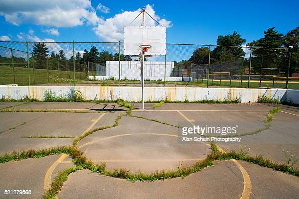 decrepit basketball court - run down stock pictures, royalty-free photos & images