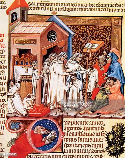 Decretum Gratiani or Condordia discordantium canonum. Collection of a Canon law compiled and written in the 12th century. Miniaure. 14th century....