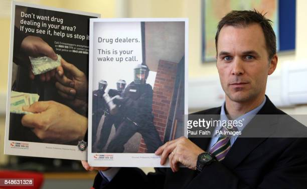 Dectective Chief Inspector Stephen Wright with new antidrug posters speaking before a series of drug raids in the Lurgan area of Northern Ireland as...
