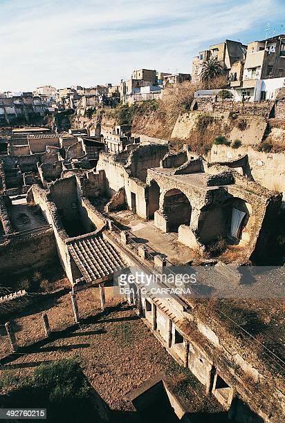 Decumanus maximus and Forum, Herculaneum, Campania, Italy.
