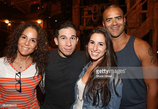 """Dede Harris, Jon Rua, London Harris and Christopher Jackson pose backstage at the hit musical """"Hamilton"""" on Broadway at The Richard Rogers Theater on..."""