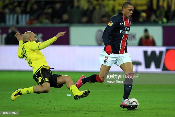Dede of Dortmund and Guillaume Hoarau of Paris battle for the ball during the UEFA Champions League Group J match between Borussia Dortmund and Paris...