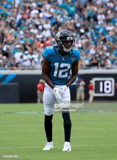 Dede Westbrook of the Jacksonville Jaguars lines up during the game against the New England Patriots at TIAA Bank Field on September 16 2018 in...