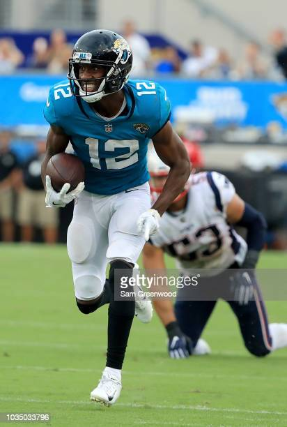 Dede Westbrook of the Jacksonville Jaguars rushes for a touchdown during the game against the New England Patriots at TIAA Bank Field on September 16...