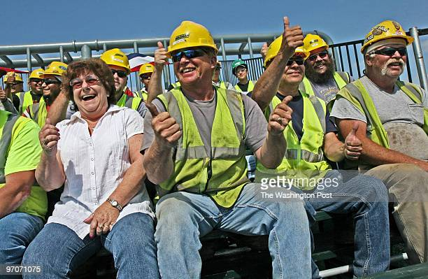 Dedication ceremony for the completion of he second span of the Woodrow Wilson Memorial bridge. Pictured, bridge project workers, hard-hatted and...