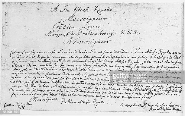 Dedication to Christian Ludwig Margravio of Brandenburg, Brandenburg Concertos by Johann Sebastian Bach . Berlin, Staatsbibliothek Zu Berlin...
