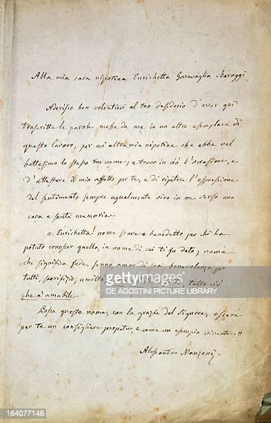 Dedication to his niece Henrietta Baroggi Garavaglia handwritten letter from Alessandro Manzoni Milan Museo Manzoniano