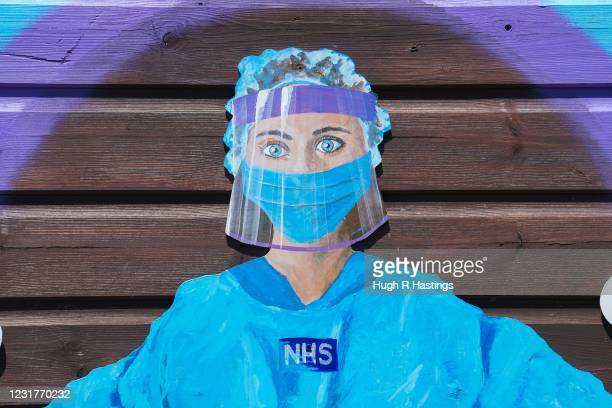 Dedication to NHS staff painted on the rear of a shed in the Tretherras Allotments on May 29 2020 in Newquay Cornwall It has been reported that at...