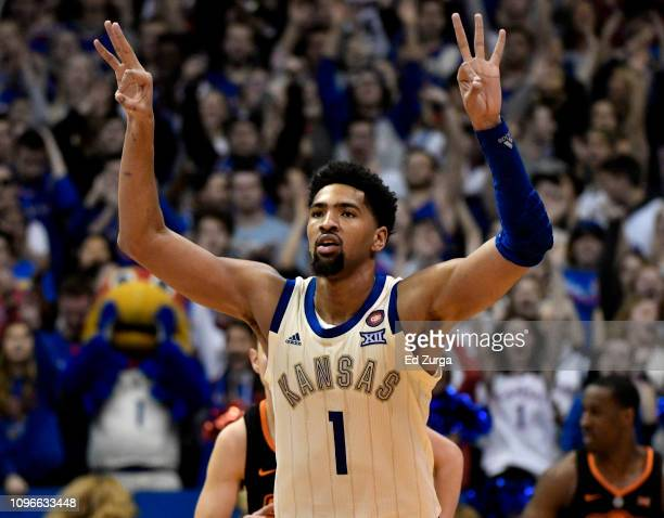 Dedric Lawson of the Kansas Jayhawks celebrates a shot against the Oklahoma State Cowboys in the second half at Allen Fieldhouse on February 09 2019...