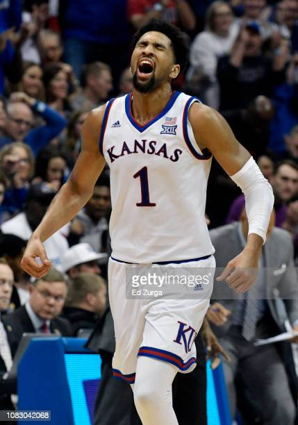 Dedric Lawson of the Kansas Jayhawks celebrates after making a basket against the Villanova Wildcats in the second half at Allen Fieldhouse on...