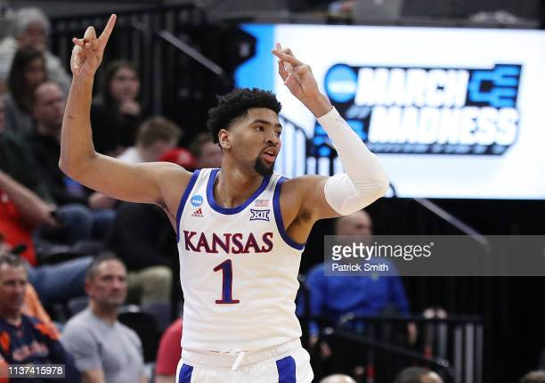 Dedric Lawson of the Kansas Jayhawks reacts during the first half against the Northeastern Huskies in the first round of the 2019 NCAA Men's...