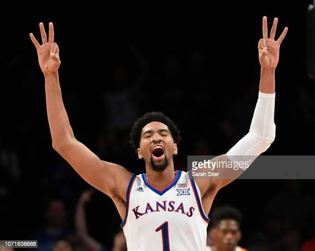 Dedric Lawson of the Kansas Jayhawks reacts during the second half of the game against Tennessee Volunteers at the NIT Season TipOff Tournament at...