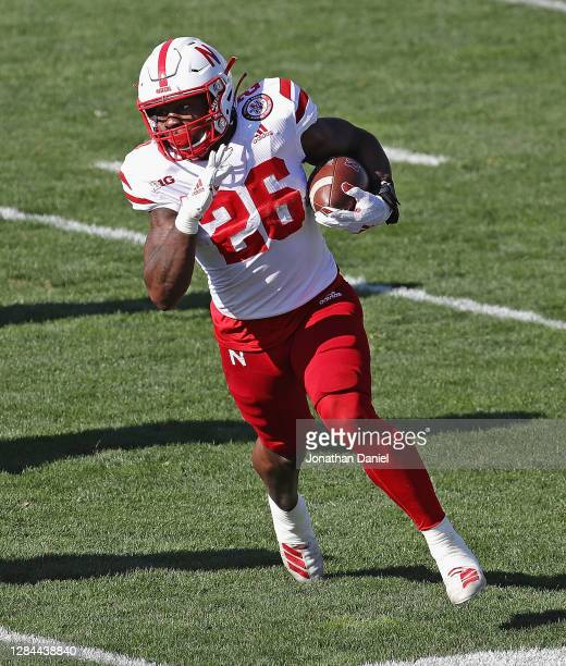 Dedrick Mills of the Nebraska Cornhuskers runs against the Northwestern Wildcats at Ryan Field on November 07, 2020 in Evanston, Illinois.