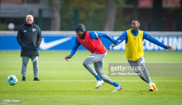 Dedryck Boyata and Dodi Lukebakio of Hertha BSC during the training session on October 20 2020 in Berlin Germany