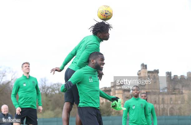 Dedryck Boyata and Odsonne Edouard of Celtic is seen during a training session at Lennoxtown Training Centre on April 27 2018 in Glasgow Scotland