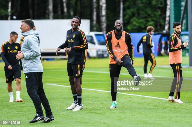 Dedryck Boyata and Romelu Lukaku of Belgium during the Training Session of Belgium on July 9 2018 in Moscow Russia