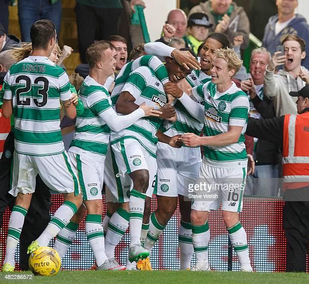 Dedryck Boyata celebrates of Celtic scoring against FK Qarabag during the UEFA Champions League Third Qualifying Round 1st Leg match between Celtic...