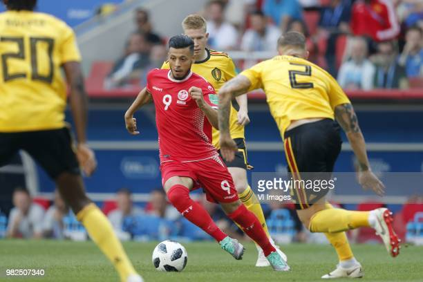 Dedryck Boyata of Belgium Anice Badri of Tunisia Kevin De Bruyne of Belgium Toby Alderweireld of Belgium during the 2018 FIFA World Cup Russia group...