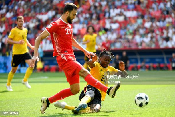 Dedryck Boyata of Belgium fights for the ball with Hamdi Naguez of Tunisia during the 2018 FIFA World Cup Group G match between Belgium and Tunisia...