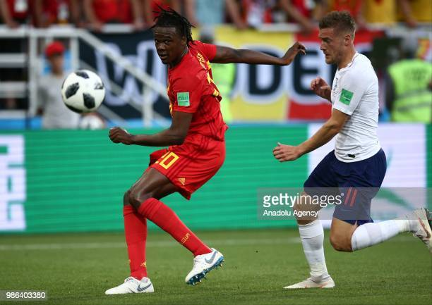Dedryck Boyata of Belgium in action against Jamie Vardy of England during 2018 FIFA World Cup Russia Group G match between England and Belgium at the...