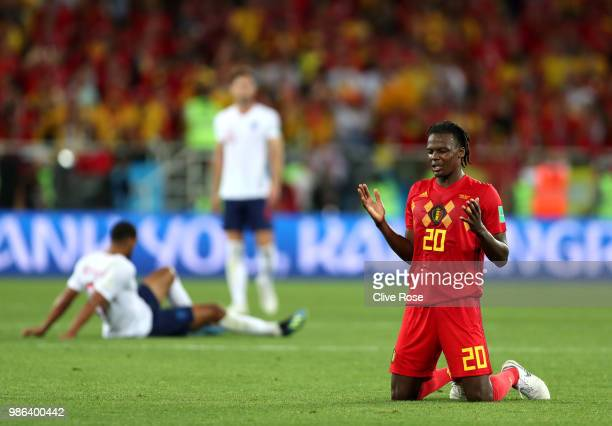 Dedryck Boyata of Belgium reacts at the final whistle following their win during the 2018 FIFA World Cup Russia group G match between England and...