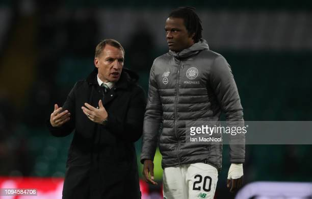 Dedryck Boyata of Celtic and Celtic manager Brendan Rodgers are seen during the Ladbrokes Premiership match between Celtic and Hibernian at Celtic...