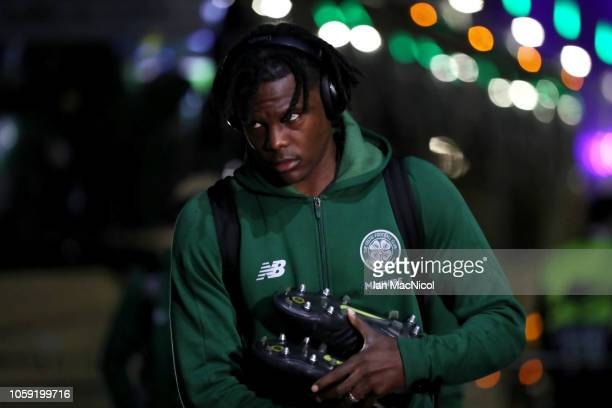 Dedryck Boyata of Celtic arrives prior to the UEFA Europa League Group B match between Celtic and RB Leipzig at Celtic Park on November 8 2018 in...