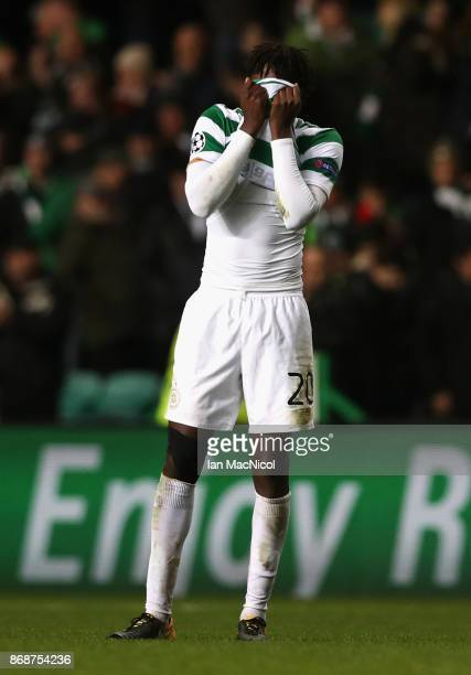 Dedryck Boyata of Celtic reacts following his side's loss following the UEFA Champions League group B match between Celtic FC and Bayern Muenchen at...