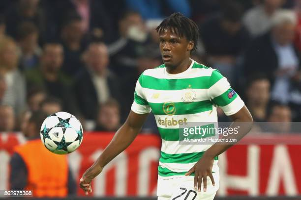 Dedryck Boyata of Celtic runs with the ball during the UEFA Champions League group B match between Bayern Muenchen and Celtic FC at Allianz Arena on...