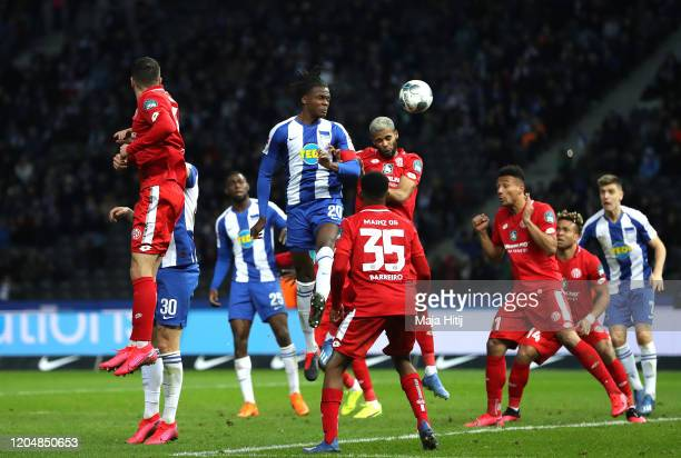 Dedryck Boyata of Herta BSC scores his team's first goal during the Bundesliga match between Hertha BSC and 1 FSV Mainz 05 at Olympiastadion on...
