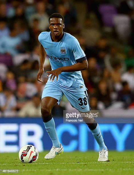 Dedryck Boyata of Manchester City in action during the friendly match between Hamburg SV and Manchester City at Hazza bin Zayed Stadium on January 21...