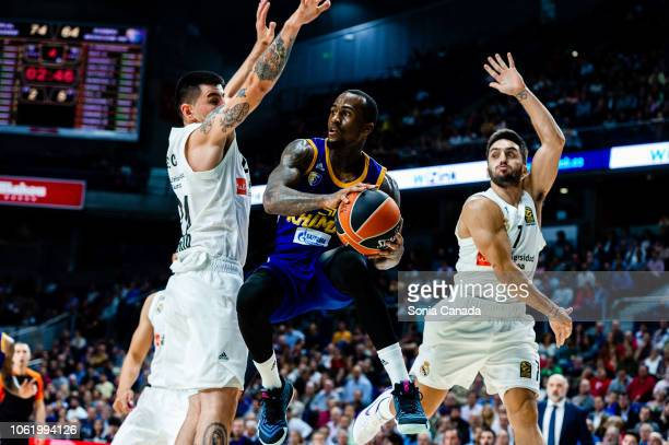 Dee Bost #3 guard of Khimki Moscow Region during the 2018/2019 Turkish Airlines Euroleague Regular Season Round 7 game between Real Madrid and Khimki...