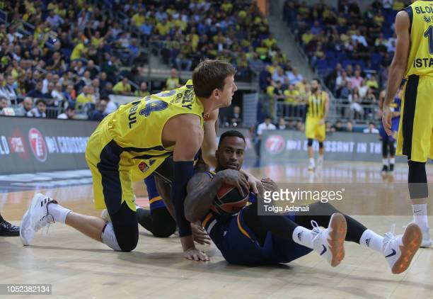 Dee Bost #3 of Khimki Moscow in action with Jan Vesely #24 of Fenerbahce Istanbul during the 2018/2019 Turkish Airlines EuroLeague Regular Season...