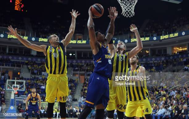 Dee Bost #3 of Khimki Moscow in action with Kostas Sloukas #16 and Jan Vesely #24 of Fenerbahce Istanbul during the 2018/2019 Turkish Airlines...