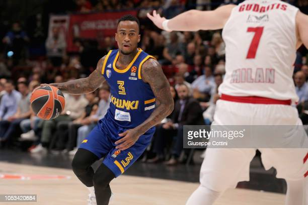 Dee Bost #3 of Khimki Moscow Region in action during the 2018/2019 Turkish Airlines EuroLeague Regular Season Round 4 game between AX Armani Exchange...