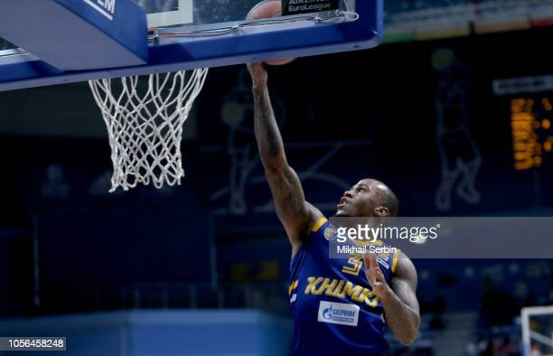 Dee Bost #3 of Khimki Moscow Region in action during the 2018/2019 Turkish Airlines EuroLeague Regular Season Round 5 game between Khimki Moscow...
