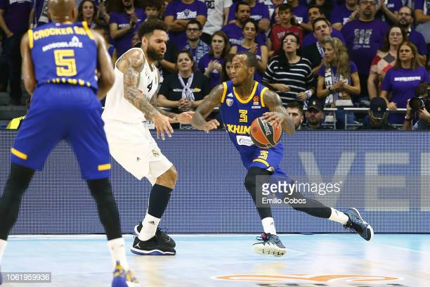Dee Bost #3 of Khimki Moscow Region in action during the 2018/2019 Turkish Airlines EuroLeague Regular Season Round 7 game between Real Madrid and...