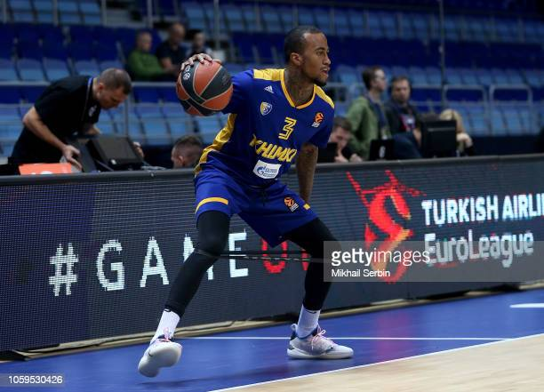 Dee Bost #3 of Khimki Moscow Region warm up before the 2018/2019 Turkish Airlines EuroLeague Regular Season Round 6 game between Khimki Moscow Region...