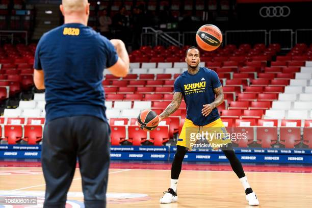 Dee Bost #3 of Khimki Moscow Region warming up before the 2018/2019 Turkish Airlines EuroLeague Regular Season Round 11 game between FC Bayern Munich...