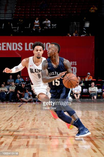 Dee Bost of Memphis Grizzlies handles the ball against the Portland Trail Blazers during the 2018 Las Vegas Summer League on July 16 2018 at the...