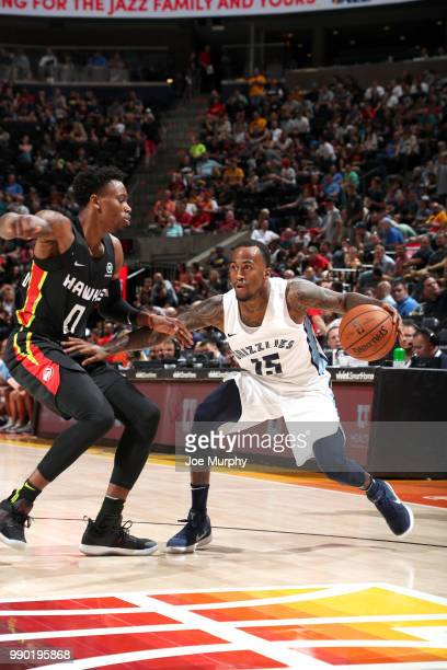 Dee Bost of the Memphis Grizzlies handles the ball against the Atlanta Hawks during the 2018 Summer League at the Vivint Smart Home Arena on July 2...