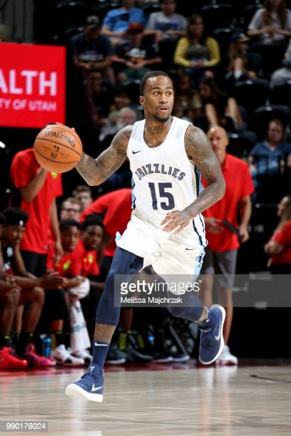 Dee Bost of the Memphis Grizzlies handles the ball during the game against the Atlanta Hawks during the 2018 Utah Summer League on July 2 2018 at...