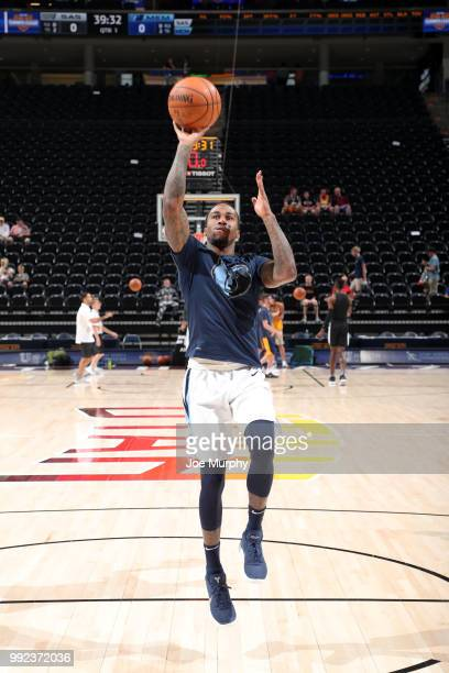Dee Bost of the Memphis Grizzlies warms up before the game against the San Antonio Spurs on July 5 2018 at Vivint Smart Home Arena in Salt Lake City...