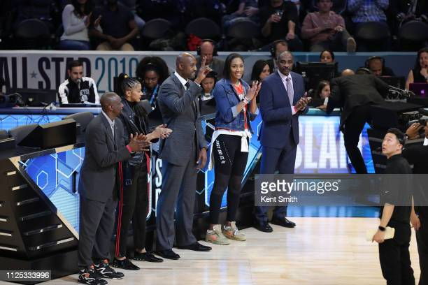 Dee Brown Candace Parker Alonzo Mourning A'ja Wilson David Thompson are judges for the 2019 ATT Slam Dunk Contest as part of the State Farm AllStar...