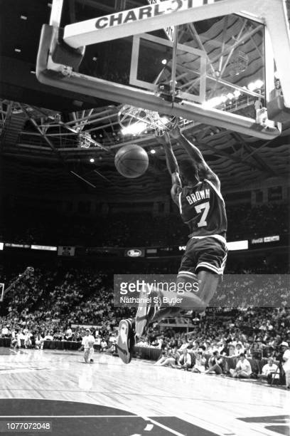 Dee Brown of the Boston Celtics attempts a dunk during the 1991 NBA Slam Dunk Contest as part of NBA All Star Weekend on February 9 1991 at the...