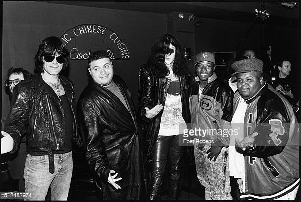 Dee Dee and Joey Ramone with the Fat Boys at the NY Music Awards at the Beacon Theater in New York City on April 8, 1989.