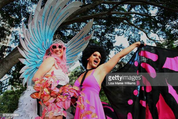 Dee Dee Chenille and Foxy BrownEye celebrate during the 2018 Sydney Gay Lesbian Mardi Gras Parade on March 3 2018 in Sydney Australia The Sydney...