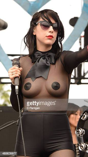 Dee Dee Penny of the Dum Dum Girls performs during the 2014 Coachella Valley Music And Arts Festival at The Empire Polo Club on April 18 2014 in...