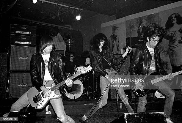Dee Dee RAMONE and RAMONES and Johnny RAMONE and Joey RAMONE, L-R. Johnny Ramone, Tommy Ramone , Joey Ramone, Dee Dee Ramone